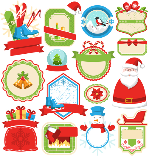 Blank xmas lables with badge green red vector