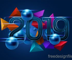 Blue abstract 2019 new year background vector