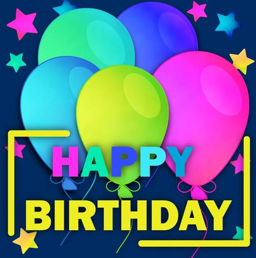 Blue birthday card with colored balloons vector