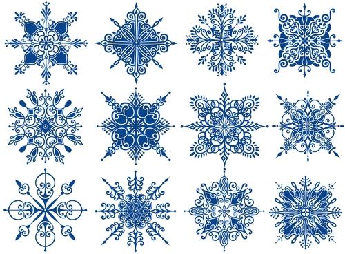 Blue snowflake style illustration vector