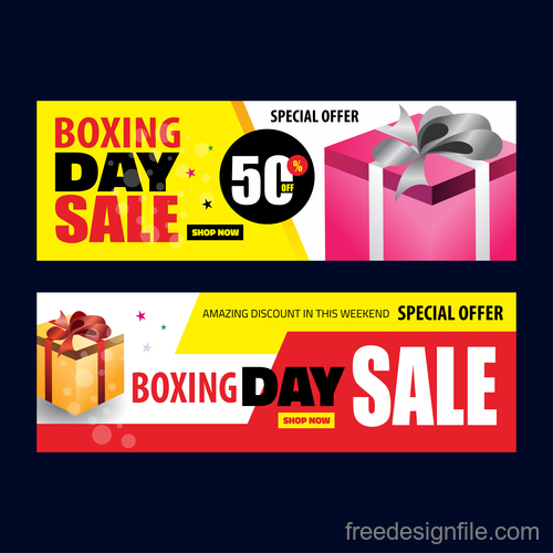Boxing day sale banners vector material 01