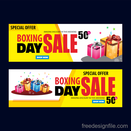 Boxing day sale banners vector material 02