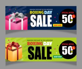 Boxing day sale banners vector material 03