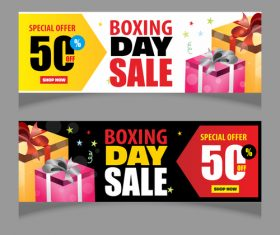 Boxing day sale banners vector material 04