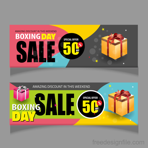 Boxing day sale banners vector material 05