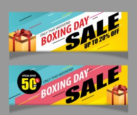 Boxing day sale banners vector material 07