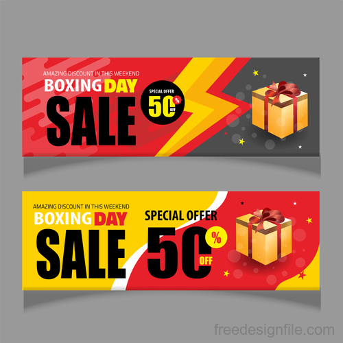 Boxing day sale banners vector material 08