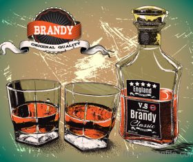 Brandy with two glass cup vector 01