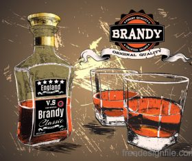 Brandy with two glass cup vector 02
