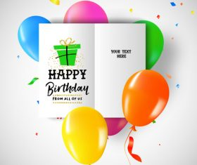 Brithday brochure with balloons vector