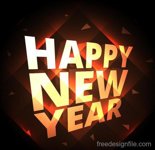 Brown happy new year background design vector 02