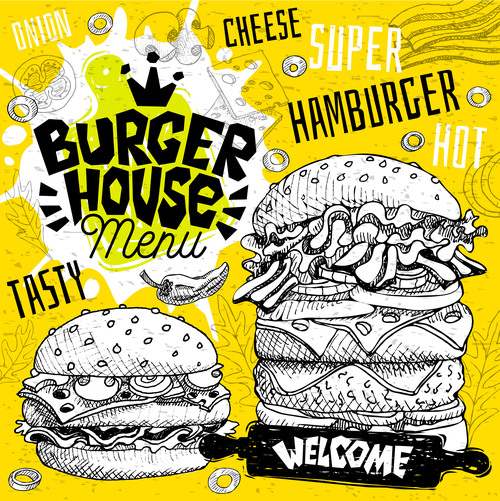 Burger house menu design vector 02