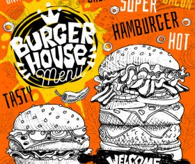Burger house menu design vector 04