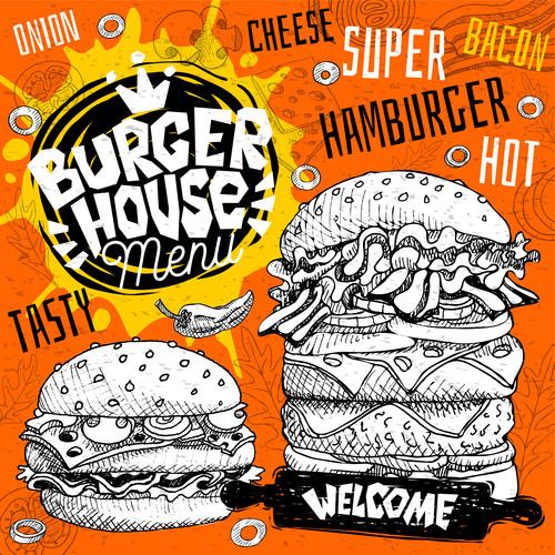 Burger house menu design vector 04