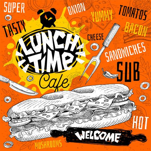 Burger house menu design vector 05
