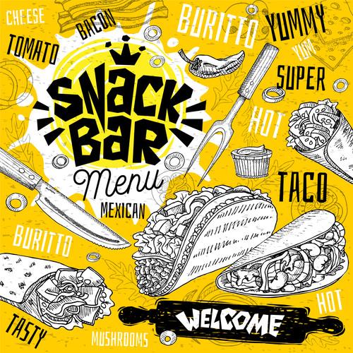 Burger house menu design vector 07