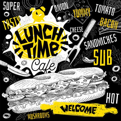 Burger house menu design vector 08