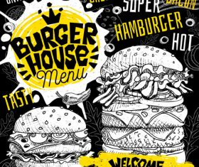 Burger house menu design vector 09