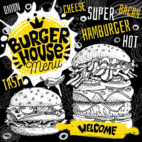 Burger house menu design vector 09