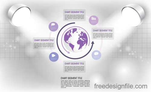 Business infographic with spotlight vector template 08