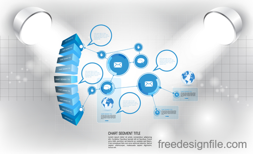 Business infographic with spotlight vector template 14