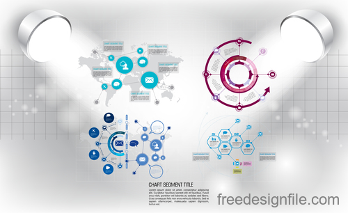 Business infographic with spotlight vector template 21