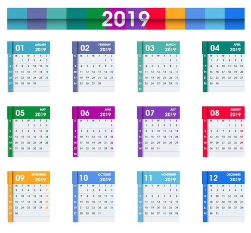 Calendar 2019 colored template vectors 01