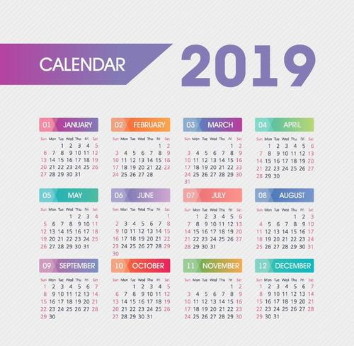 Calendar 2019 colored template vectors 02