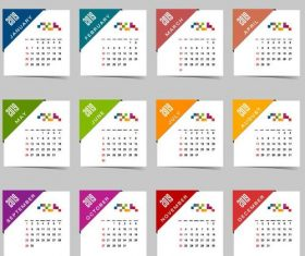 Calendar 2019 colored template vectors 03