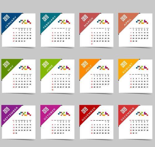 Calendar 2019 colored template vectors 03