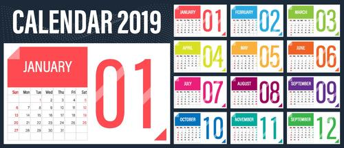 Calendar 2019 colored template vectors 04