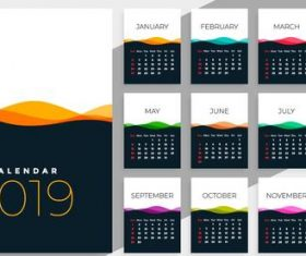 Calendar 2019 colored template vectors 05