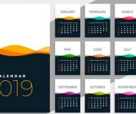 Calendar 2019 colored template vectors 05