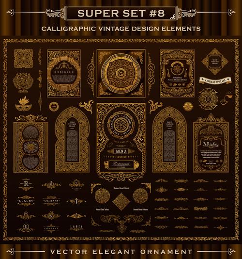 Calligraphic vintage design vector super set 01