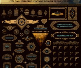 Calligraphic vintage design vector super set 03