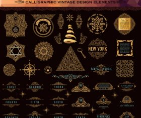 Calligraphic vintage design vector super set 04