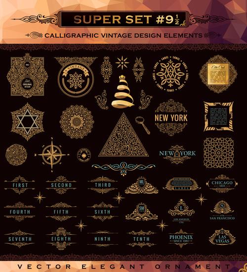 Calligraphic vintage design vector super set 04
