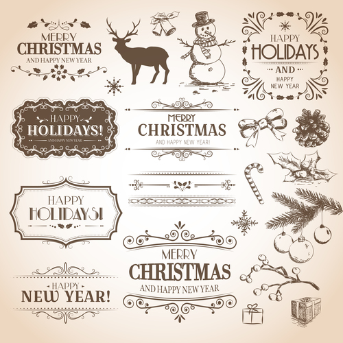 Calligraphic with christmas decor vector