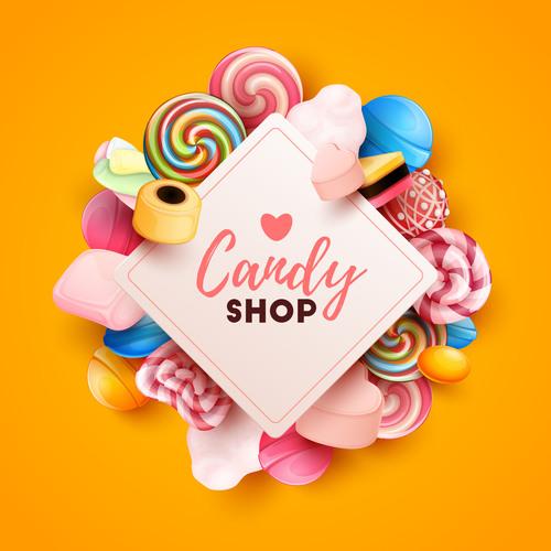 Candy shop template design vector 02
