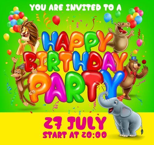 Cartoon barthday card with cartoon animal vectors