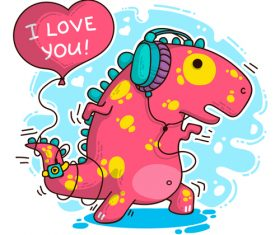 Cartoon dinosaur with love valentines card vectors 01