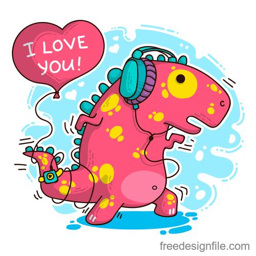 Cartoon dinosaur with love valentines card vectors 01