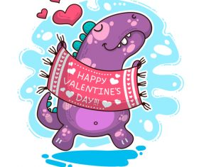 Cartoon dinosaur with love valentines card vectors 02