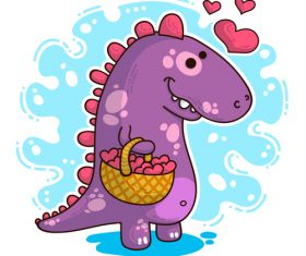 Cartoon dinosaur with love valentines card vectors 04
