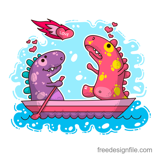 Cartoon dinosaur with love valentines card vectors 05