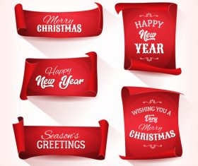 Cartoon funny christmas red parchment collection vector