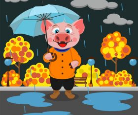Cartoon ping with rain vector