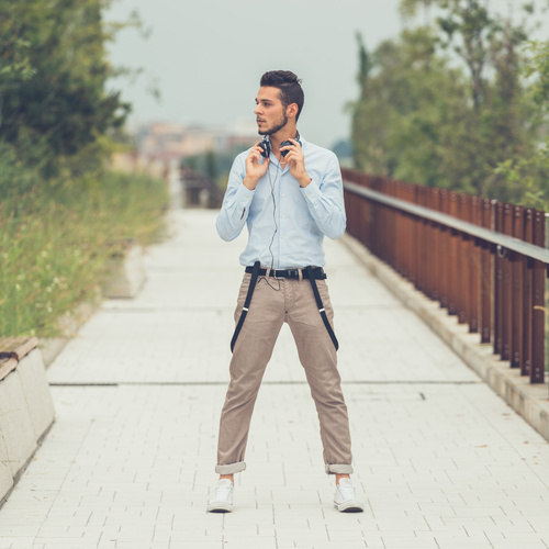 Casual dressing men with headphones Stock Photo