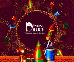 Celebrate diwali festival design vector material 02
