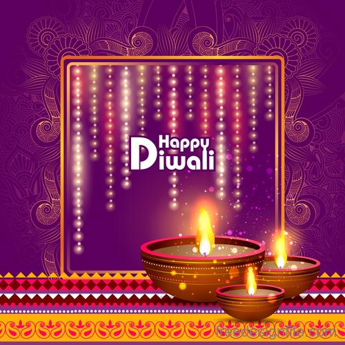 Celebrate diwali festival design vector material 03
